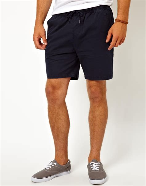 asos chino shorts in navy asos chino shorts with drawstring waist in black for