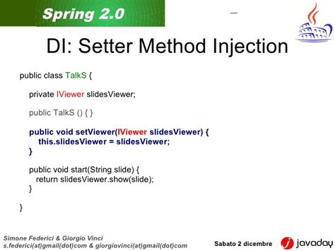 spring dependency injection private setter spring20 javaday