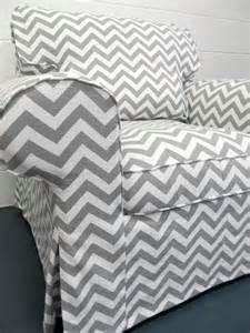 custom ikea ektorp armchair slipcover in gray chevron