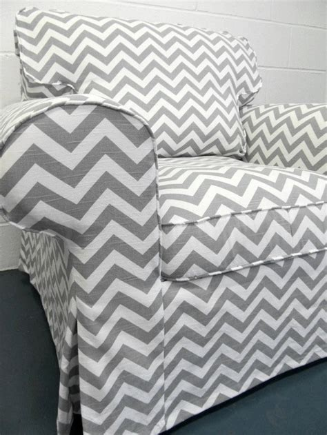 custom ikea ektorp armchair slipcover in gray chevron a