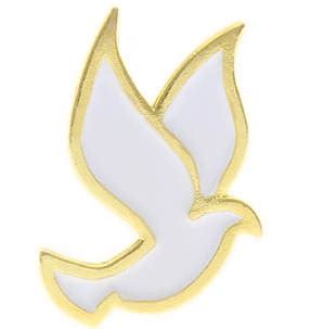 Dove Gold Lapel Pin Brooch Deux white dove pin holy spirit gold