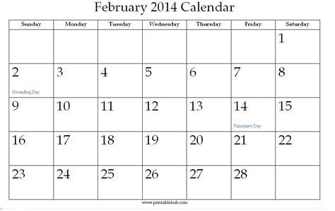 Calendar February 2014 February 2014 Printable Calendar 171 Printable Hub