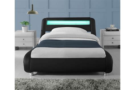Led Bed Lights by Sleep Design Madrid 3ft Single Black Faux Leather Bed