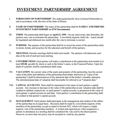 sample business investment agreement   documents    word
