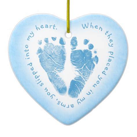 Baby Boy Footprint baby boy blue footprint photo ornament zazzle