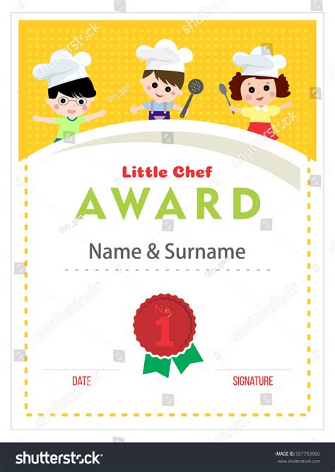 chef certificate template child chef award cooking class stock vector 567793960