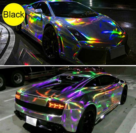 rainbow glitter car holographic laser chrome iridescent vinyl car wrap