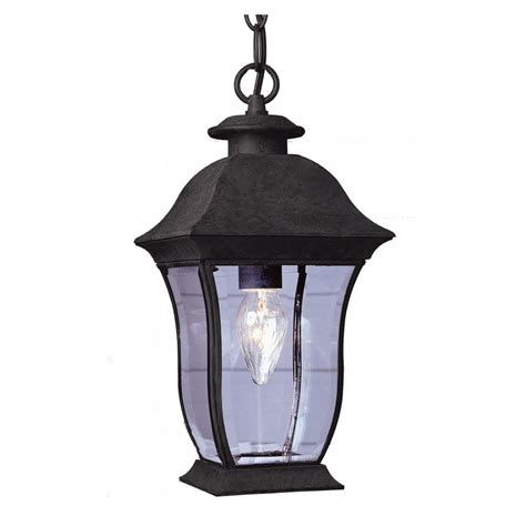 Outdoor Lighting Lowes Shop Bel Air Lighting 15 In H Black Outdoor Pendant Light At Lowes