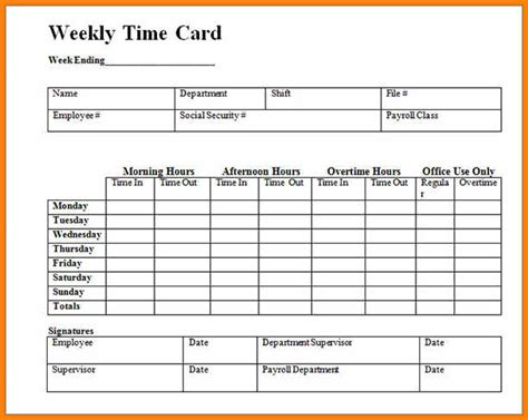 blank time card template 12 printable time cards the mayors back to school fair