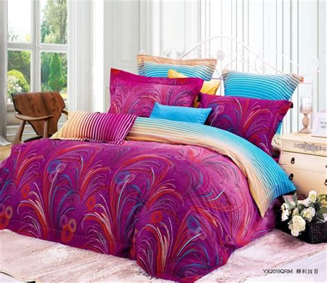 feather bedding purple blue feather bedding set king size queen duvet cover bedsets quilt bed sheet
