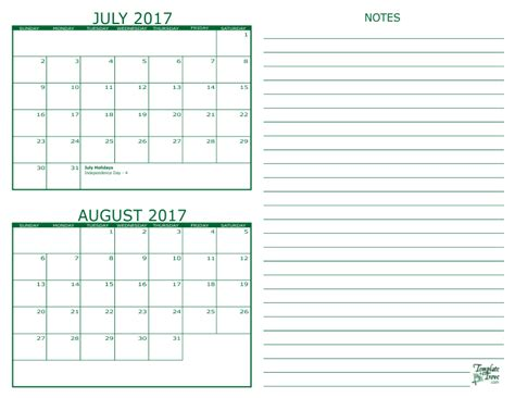 printable calendar july august 2017 2 month calendar 2017