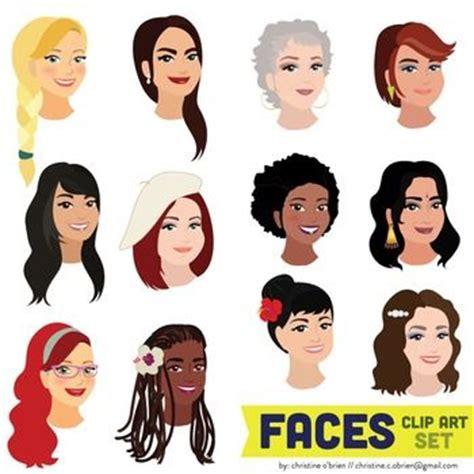describing face shapes faces clip art set woman face eyes and men and women