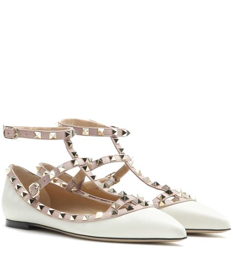 Flats Shoes Valentino 266 4 valentino rockstud noir leather ballet flats in white lyst