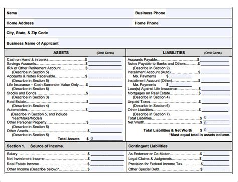 Sba Personal Financial Statement Excel Template Printable Financial Statement 40 Personal Sba Personal Financial Statement Template Excel