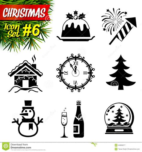 new year symbols vector set of black and white icons stock vector