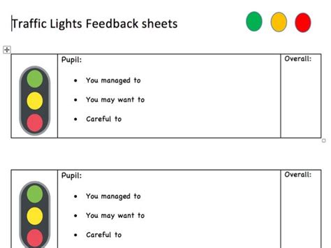 Traffic Lights Feedback Sheet By Myteachingvoice Traffic Light Report Template