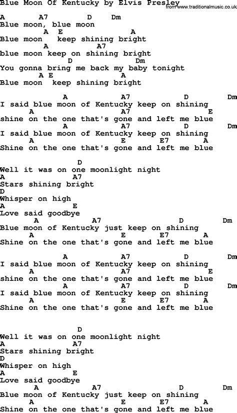 blue elvis song blue moon of kentucky by elvis lyrics and chords