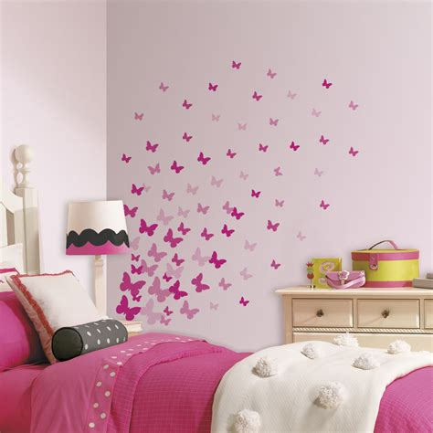 girl room decor 75 new pink flutter butterflies wall decals girls