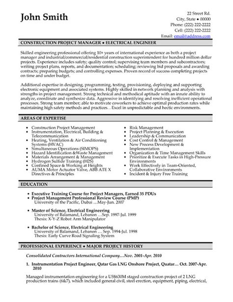 construction resume exles and sles top construction resume templates sles