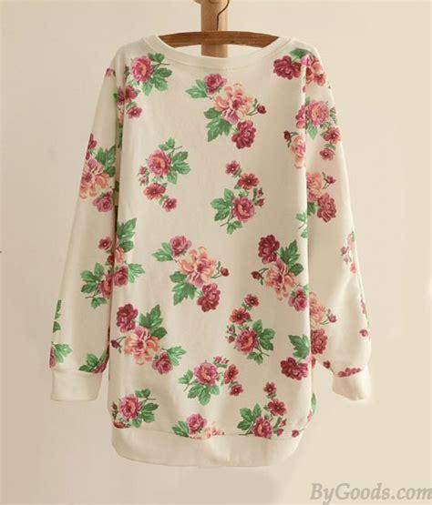 White Fresh Flower Cardigan 40624 fresh floral bat sleeve neck sweater