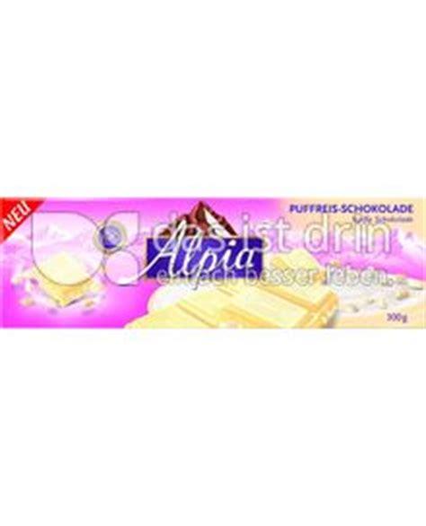 kalorien tafel schokolade alpia puffreis tafel wei 223 e schokolade kalorien kcal und