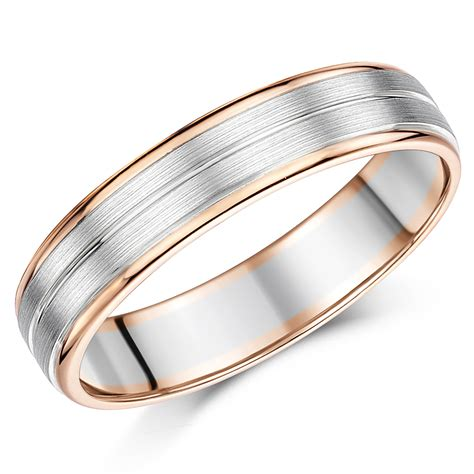 5mm Wedding Ring by 5mm Palladium And 9ct Gold Wedding Ring 9ct 2