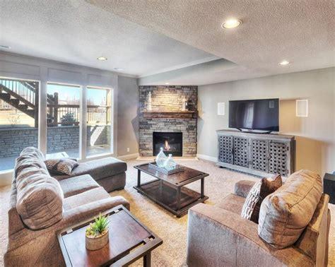 daylight basement prestige properties finished daylight basement gas fireplace bickimer homes