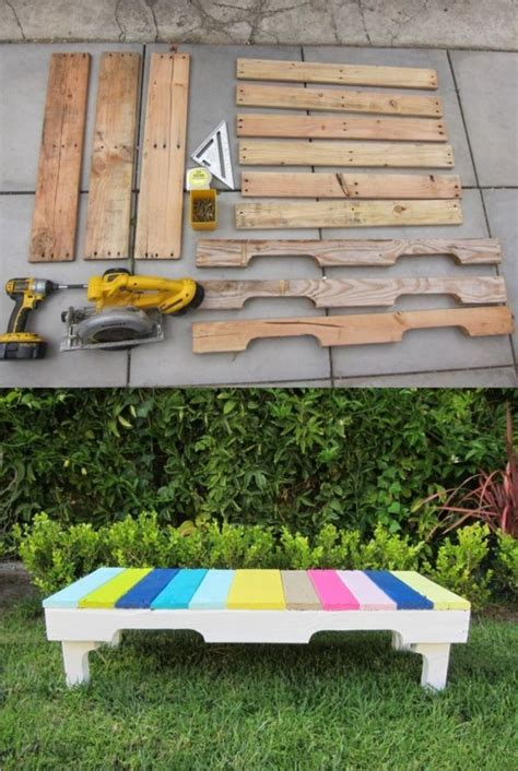 recycled benches outdoor diy colored bench from recycled pallets pallet ideas