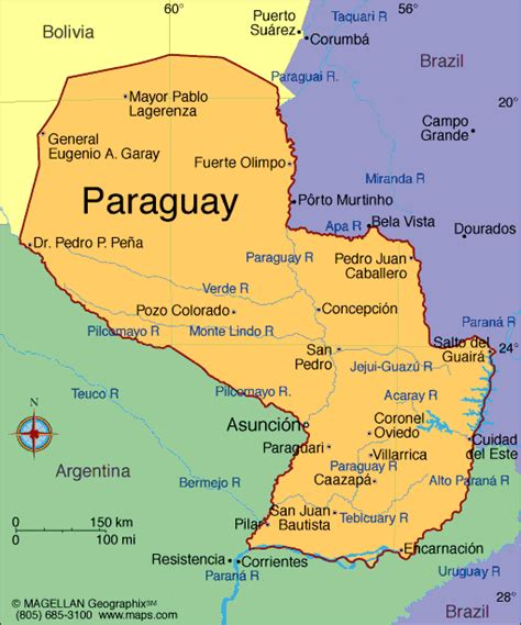 paraguay on the world map map of paraguay