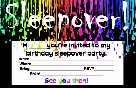 sleepover birthday invitations theruntime