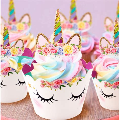 hiasan cup cake kue model unicorn  pcs multi color