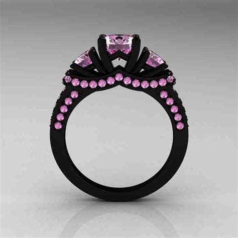 black engagement ring with pink diamonds wedding and