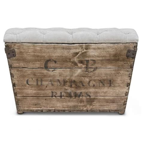 wood crate ottoman reims french country aged wood grey storage crate ottoman