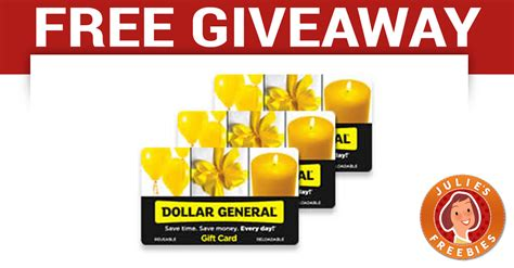 Free Gift Giveaway - free dollar general gift card giveaway julie s freebies