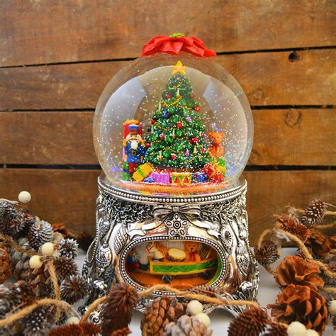 large christmas tree silver christmas musical snow globe