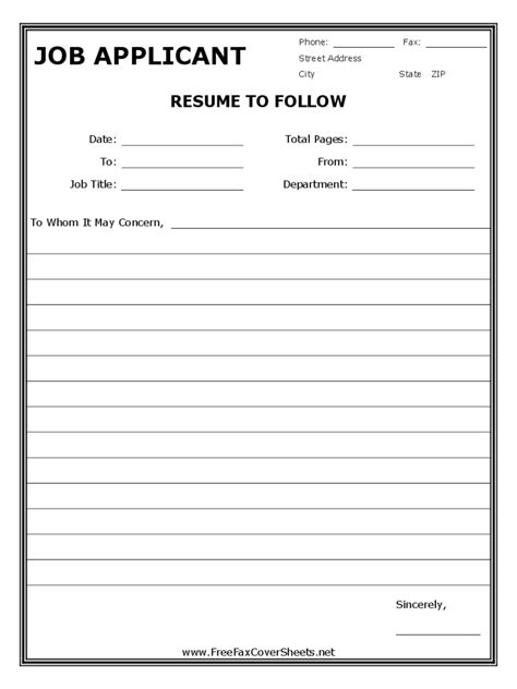 resume cover sheet exles fax cover sheet for resume 1 free templates in pdf word