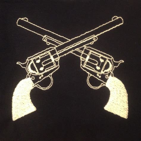 tattoo gun embroidery design western crossed guns revolvers machine embroidery design in