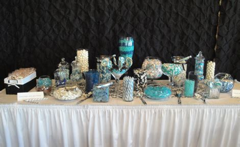 black white and turquoise buffet devoted weddings and events