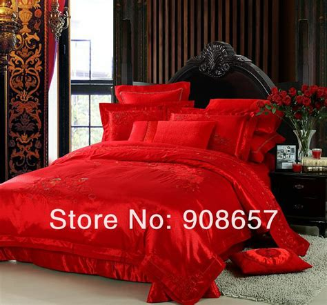 red bed in a bag mandarin duck print red chinese luxurious bedding 10 pcs