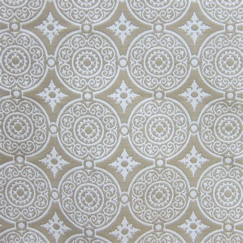 medallion upholstery fabric white cream woven outdoor designer upholstery fabric