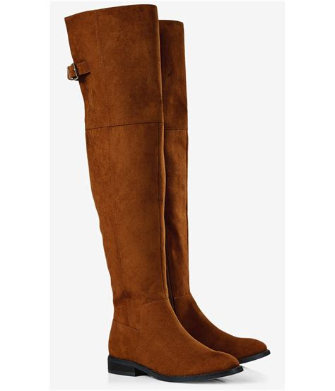 express faux suede the knee flat boot in brown lyst