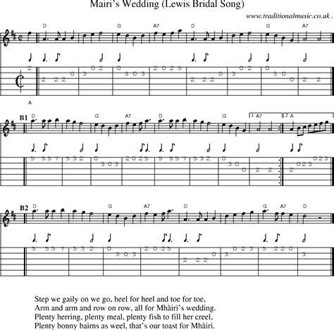 Wedding Song Tab by Scottish Tune Sheetmusic Midi Mp3 Guitar Chords Tabs