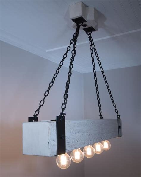 Wood Beam Chandelier Rustic Wood Beam Chandelier With Edison Bulbs And Forged Iron Straps
