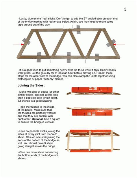 printable bridge instructions popsicle bridge plans garrett s bridges