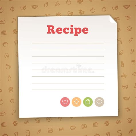 recipe card decoration template blank recipe card template stock vector illustration of