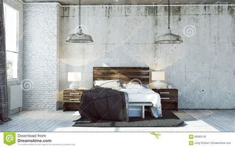 industrial look 3d bedroom in industrial look stock illustration