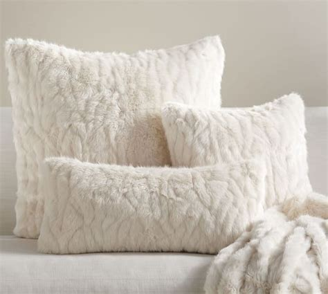 Faux Fur Pillow Cover by Gathered Faux Fur Pillow Cover Ivory Pottery Barn