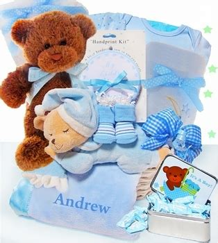 personalized beginnings gift basket for a boy simplyuniquebabygifts