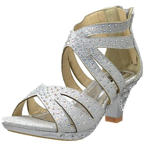 pageant shoes dress sandals rhinestone glitter cutout high heel