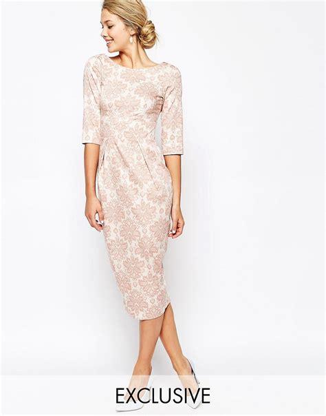 Closet Clothing Dresses by Closet Closet Midi Pencil Dress In Wallpaper Floral Print At Asos